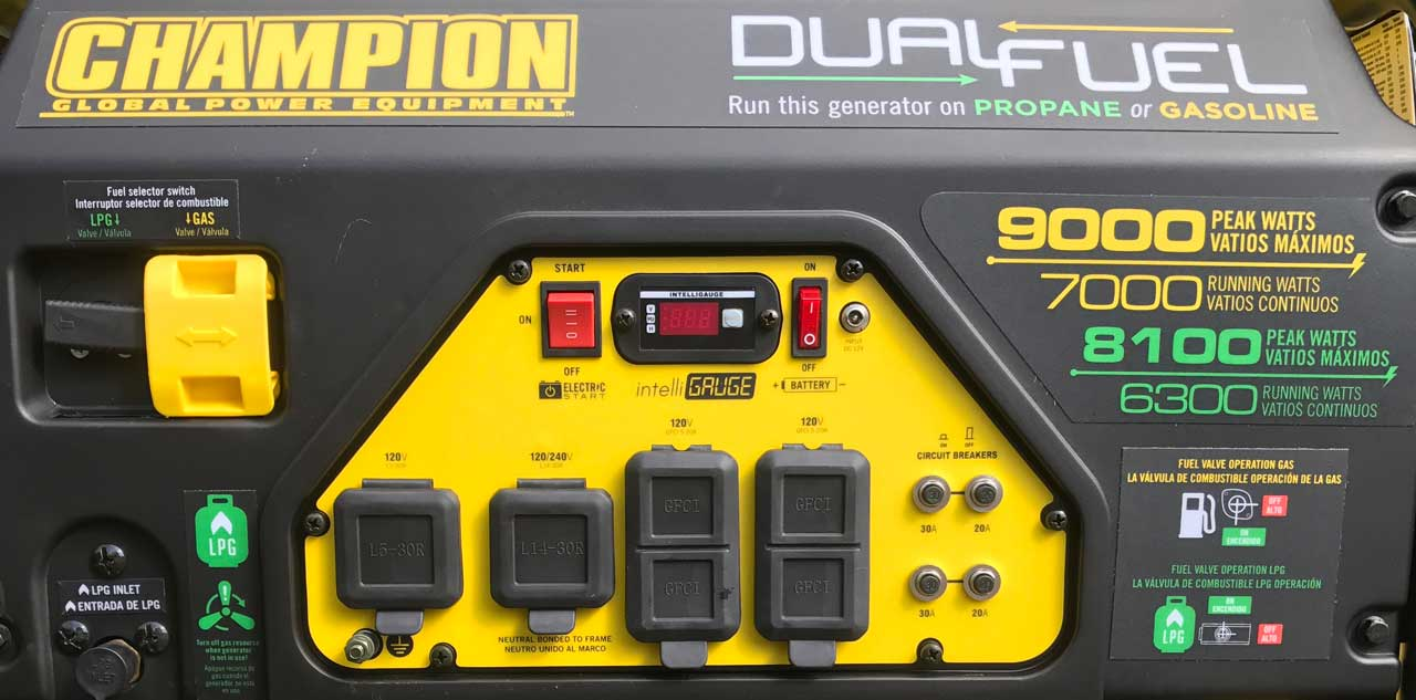 Picture of my Champion 7,000 watt Generator Control Panel