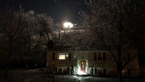 House Running On LED Lights During A Winter Power Outage